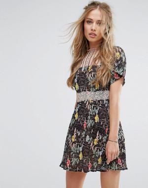 Foxiedox Короткое приталенное платье с кружевными вставками и цветочным принтом. Цвет: мульти