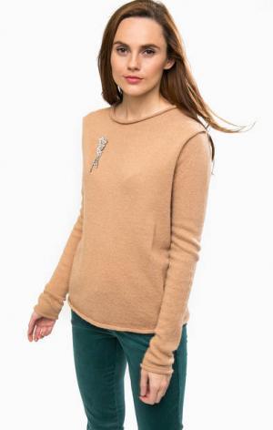 Коричневый шерстяной свитер с брошью Liu Jo. Цвет: коричневый