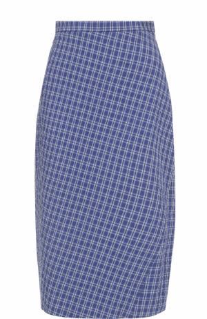 Клетчатая юбка-миди с разрезом Altuzarra. Цвет: голубой
