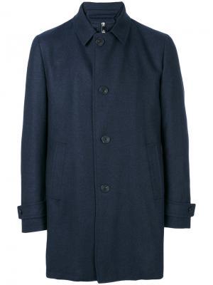 Однобортное пальто Corneliani. Цвет: синий