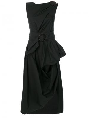 Асимметричное платье с драпировкой Isa Arfen. Цвет: чёрный