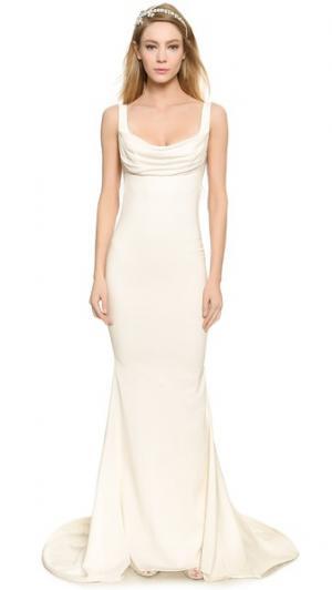 Вечернее платье Barcelona с низким вырезом на спине Katie May. Цвет: золотой
