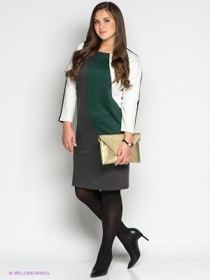 Платье МадаМ Т. Цвет: темно-серый, белый, зеленый