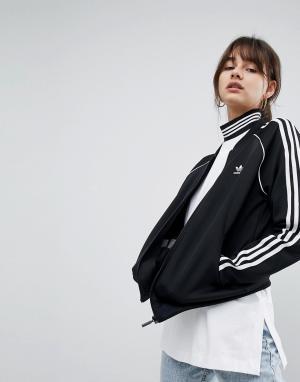 Adidas Originals Черная спортивная куртка с тремя полосками adicolor. Цвет: черный