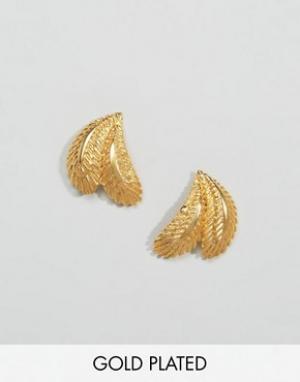 Ottoman Hands Серьги в виде пальмовых листьев. Цвет: золотой
