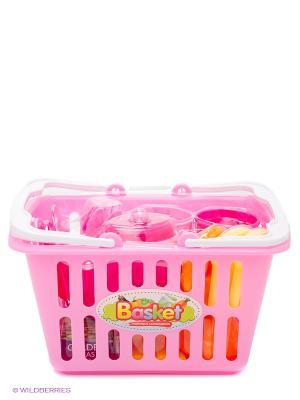 Набор посудки в корзине S-S. Цвет: розовый, желтый