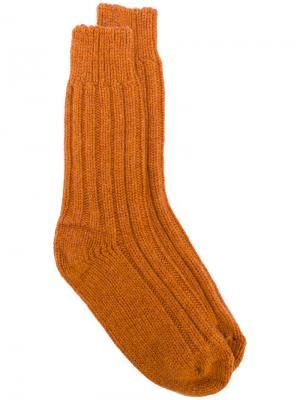 Носки с ребристой фактурой Alyki. Цвет: жёлтый и оранжевый