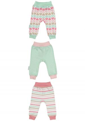 Комплект : штанишки 3 шт Lucky child. Цвет: зеленый (мятный/розовый)