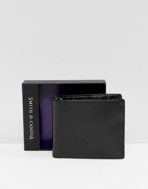 Smith And Canova Черный блестящий кожаный бумажник. Цвет: черный