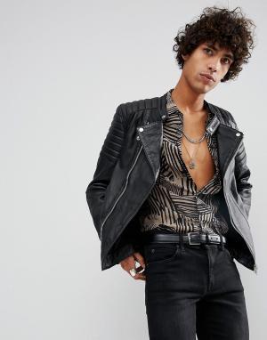 Goosecraft Черная байкерская куртка с отделкой в рубчик на плечах. Цвет: черный