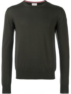 Классический свитер Moncler. Цвет: зелёный