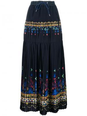 Длинная юбка с принтом Tribal Lace Sacai. Цвет: синий