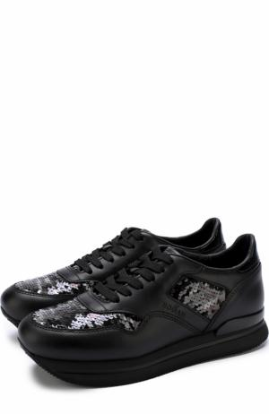 Кожаные кроссовки с вышивкой пайетками Hogan. Цвет: черный