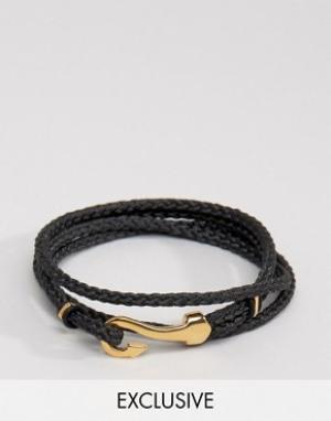 Seven London Черный браслет с крюком эксклюзивно для ASOS. Цвет: черный