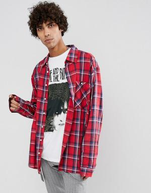 Dead Vintage Рубашка в клетку James. Цвет: красный