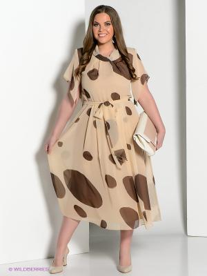 Платье Amelia Lux. Цвет: бежевый