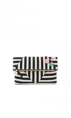 Patchwork v foldover clutch with pins Clare V.. Цвет: black & white