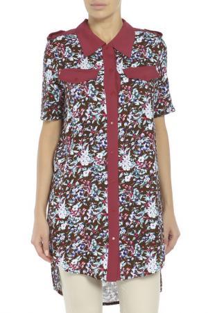 Рубашка Adzhedo. Цвет: коричневый, бордовый, цветы