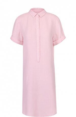 Льняное платье-рубашка с коротким рукавом 120% Lino. Цвет: светло-розовый
