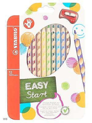 Набор цветных карандашей, 12 цв., для правшей Stabilo. Цвет: белый