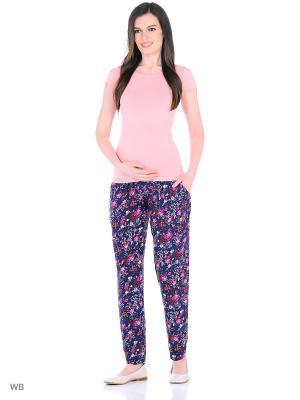Брюки для беременных 40 недель. Цвет: темно-синий, розовый