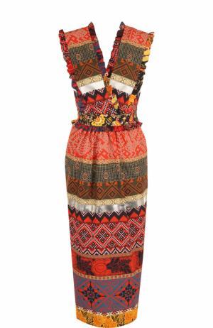 Приталенное хлопковое платье-миди Stella Jean. Цвет: разноцветный