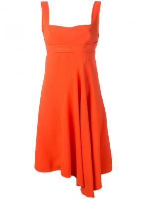 Расклешенное платье с асимметричным подолом Victoria Beckham. Цвет: жёлтый и оранжевый