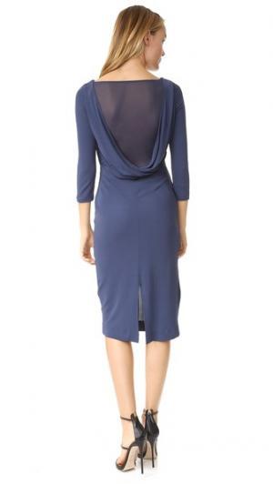 Платье с открытой спиной и драпировкой ST Olcay Gulsen. Цвет: голубой