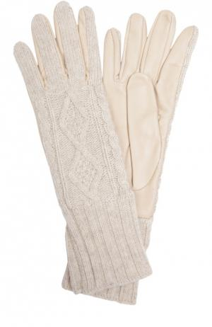 Кожаные перчатки Sermoneta Gloves. Цвет: белый