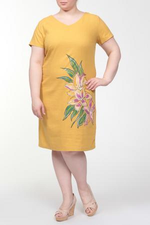 Платье QNEEL Q'NEEL. Цвет: горчичный