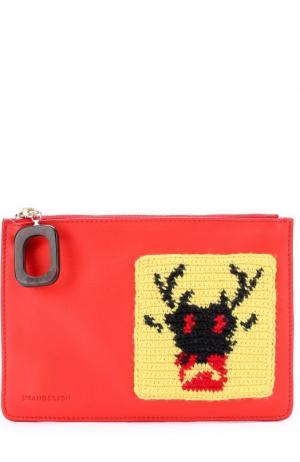 Клатч с вязаной аппликацией J.W. Anderson. Цвет: красный