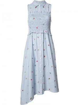 Платье в полоску с цветочной вышивкой Suno. Цвет: синий