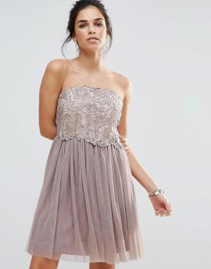 Little Mistress Платье-бандо для выпускного с кружевным лифом. Цвет: серый
