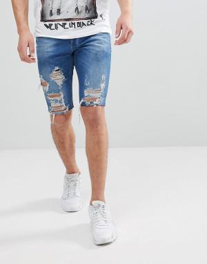 Religion Синие облегающие джинсовые шорты с рваной отделкой. Цвет: синий