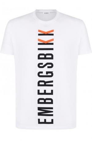 Хлопковая футболка с принтом Dirk Bikkembergs. Цвет: белый