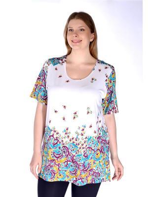 Блузка Pretty Woman. Цвет: бирюзовый,фиолетовый,белый