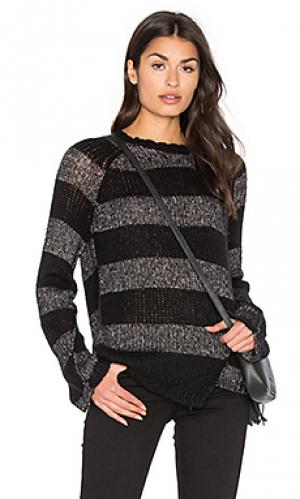 Свитер со смещенными полосами Pam & Gela. Цвет: черный