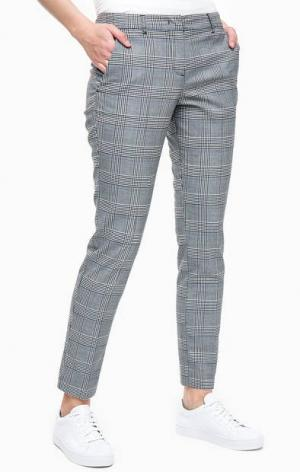 Зауженные серые брюки в клетку TOM TAILOR. Цвет: серый