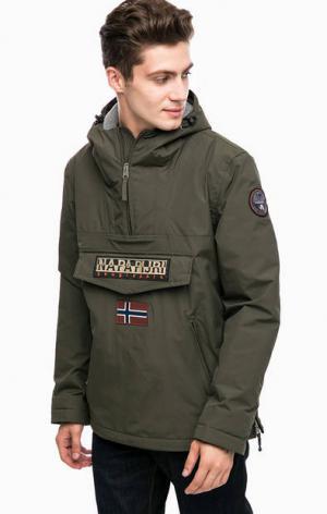 Демисезонная куртка анорак цвета хаки Napapijri. Цвет: хаки