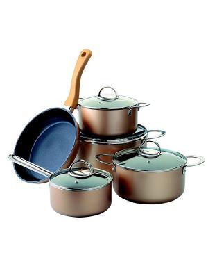 Набор посуды из алюминия с антипригарным покрытием, 9 предметов Augustin Welz. Цвет: золотистый