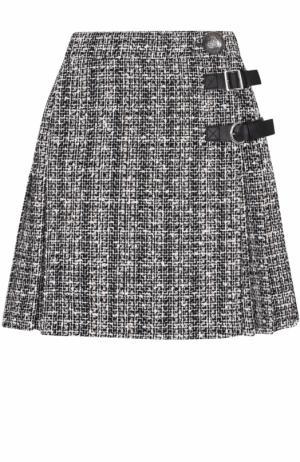 Буклированная мини-юбка со складками Alexander McQueen. Цвет: серый
