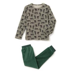 Пижама из велюра с принтом тигры 2-12 лет La Redoute Collections. Цвет: серый меланж/зеленый