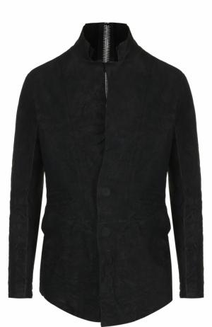 Кожаная куртка с эффектом крэш и декоративной отделкой Isaac Sellam. Цвет: черный