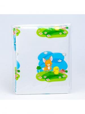 Клеенка непромокаемая на кровать, рисунок: зверята Canpol babies. Цвет: белый, голубой, зеленый, оранжевый