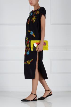 Хлопковое платье с вышивкой Sensi Studio. Цвет: черный, разноцветный