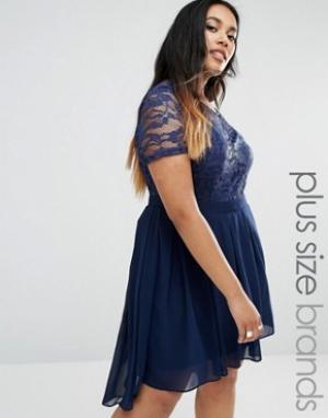 Praslin Платье с кружевным топом и заниженным краем сзади Plus. Цвет: темно-синий