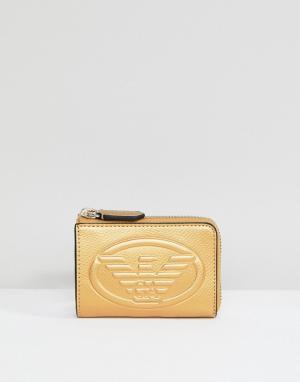 Emporio Armani Кожаный кошелек для монет с тиснением логотипа. Цвет: золотой