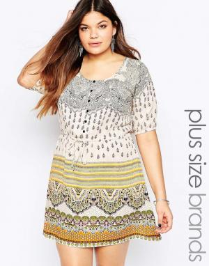 Diya Платье с присборенной юбкой и разноцветным принтом Plus. Цвет: мульти