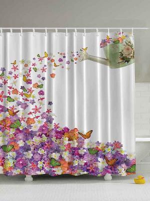 Фотоштора для ванной Волшебные бабочки, 180*200 см Magic Lady. Цвет: белый, сиреневый