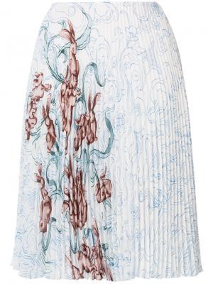 Плиссированная юбка с принтом Prada. Цвет: многоцветный